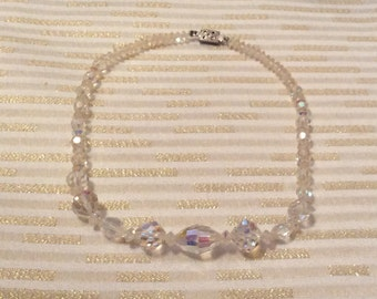 Small Aurora Borealis Crystal Necklace Signed Japan 12 1/2 inches