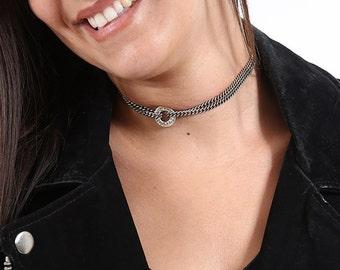 Choker Necklace - Choker For Women - Silver Choker - Wide Choker - Women's Necklace - Silver Necklace - Collar Necklace - Statement