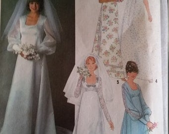 Vintage Simplicity Wedding Dress Misses 14 Wedding Dress Sewing pattern Bridesmaid Dress pattern