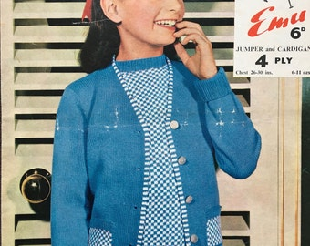 Emu Vintage Knitting Pattern Children Girl's Cardigan 1950s