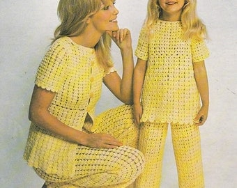 Vintage crochet trouser suit pattern mother daughter pdf INSTANT download pattern only pdf 1970s womens girls pant suit