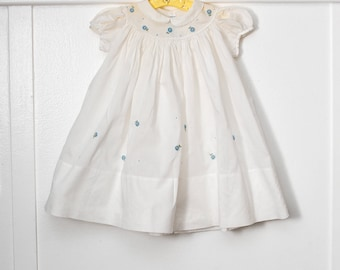 6 months: Blue Flower embroidered vintage baby dress, classic white batiste with round neck and peter pan collar, by Geo Wartenberg