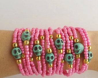 Skull bracelet - layering bracelets - stacking bracelets - friendship bracelet - arm candy - summer jewelry - halloween - bff gift - pink