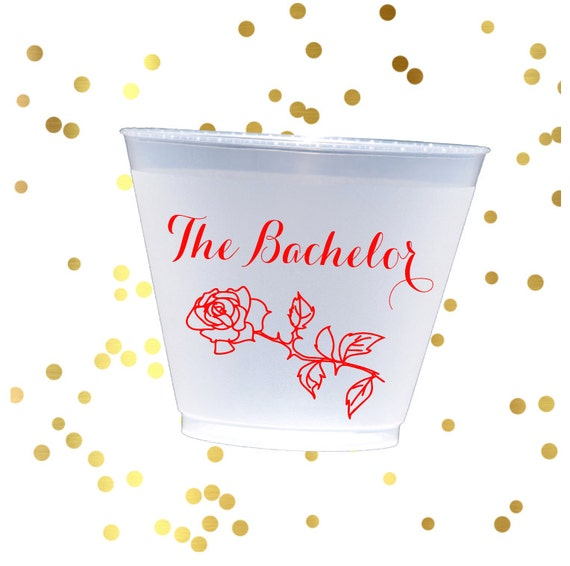 The bachelor frosted cups, girls night shatterproof cup, personalized plastic cup, book club party favor, Will you accept this rose party