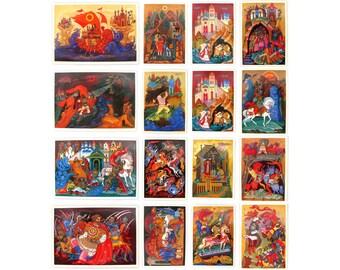Ilya Muromets, Postcard, Set, Russian Epic, Rus, Bogatyr, Illustration, Schukin, Unused, Soviet Vintage Postcard, made in USSR, 1985, 1980s