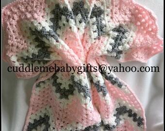 Baby Shower Handmade Crochet Baby Blanket baby pink gray White Baby Afghan Baby Shower Gift Baby Girl