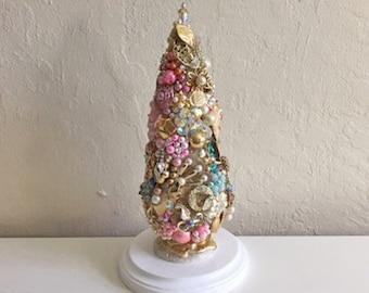 Large Christmas Bottle Brush Tree, Jewel Tree, Vintage Jewelry, Holiday, Decorated, Shabby Chic