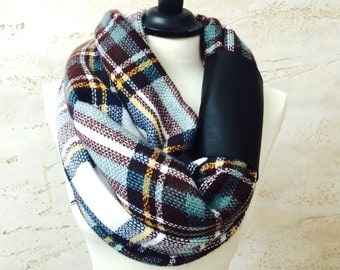 Chunky Infinity Scarf Gift For Her Plaid Infinity Scarf Blanket Scarf Women's Scarves Infinity Scarf Plaid  Winter Scarf Women