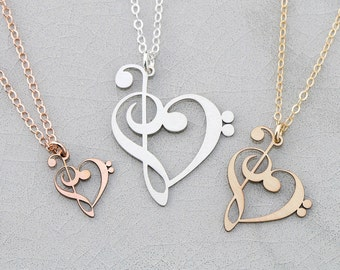 SALE • Treble Clef Bass Clef • Music Teacher Gift • Piano Gift • Charm Music Necklace • Music Note Necklace • Teacher Appreciation Necklace