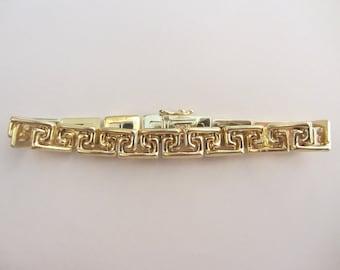 """14k Solid Gold Zig Zag Design Link Bracelet - 7 1/4""""x 8mm - 12.69g"""