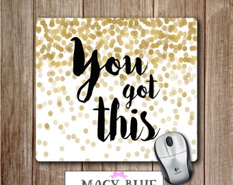 Mouse Pad, Gold White, Mousepad, Office Accessories, Desk Accessories, Gift for Her, Cute Mouse Pads, Custom Mousepad, Teacher Gifts