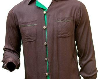 1940s Medium Shirt Oxford Button Up Chocolate Brown Kelly Green Mens Rockabilly Retro Madmen Preppy Lounge Club Greaser Classic 1950s Mod