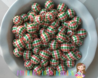 20mm Christmas Hoodtooth Pearls Chunky Bubble Gum Beads Set of 10