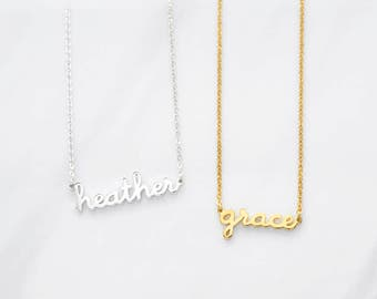 Small Name Necklace - Handwriting Name Necklace - Custom Name Pendant - Personalized Name Jewelry in Sterling Silver and Gold CNN03
