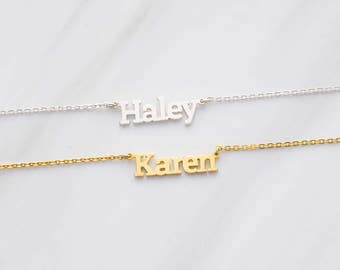 Block Letter Necklace • Kid Name Necklace • Silver Necklace With Name • Personalized Name Pendant • Custom Name Jewelry CNN06
