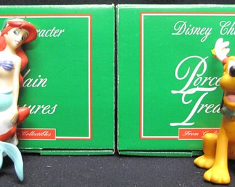 Set of 2 Grolier Ornaments Ariel and Pluto as Reindeer with Original Boxes
