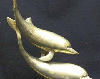 Vintage 15 Inch Brass Swimming Dolphins Statue