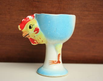 Vintage Egg Cup, Chicken Egg Cup Cup, Chicken Blue Egg Cup