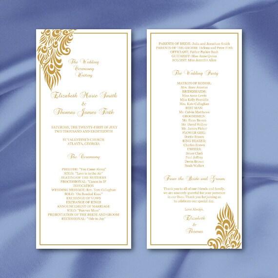 Elegant Marriage Certificate Template Golden Edition: Gold Peacock Wedding Program Template Elegant Peacock