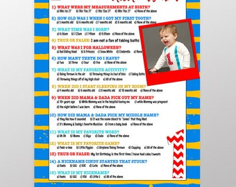 First birthday game, birthday party games, birthday triva, 1st birthday game ideas, girls 1st birthday boys 1st birthday trivia