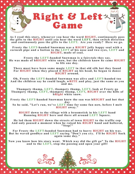 Dynamite image pertaining to christmas left right game printable
