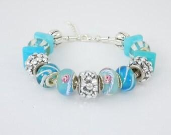 European Style Bead Bracelet, Murano Glass Beads, 925 Sterling Core, European Bracelet, Bead Bracelet, Lobster claw clasp