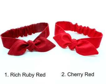Rich Ruby Red or Cherry Red Baby Headband - hair bow in plain solid red, Pick one!