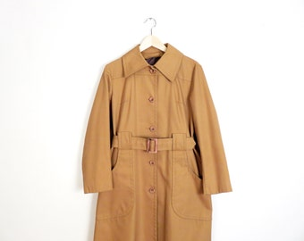 Vintage 70s London Fog Camel Canvas Minimalist Classic Spring Essential Trench Coat Size M/L