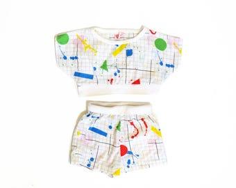 Vintage 80s Girls Splatter Paint Graph Print Cotton 2 Piece Set