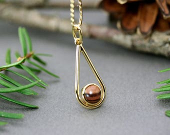 Brown jewelry, Gold teardrop pendant with brown wood, Necklace brown wood, Gold necklace wood, Necklace unique wood, Brown wood teardrop
