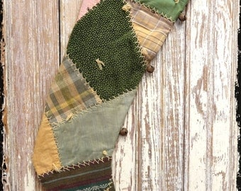 Very Primitive Long Crazy Quilt Christmas Stocking Lined Fully Fuctional