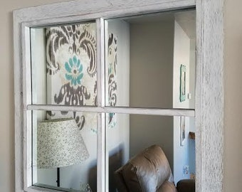 Rustic White Windowpane Mirror