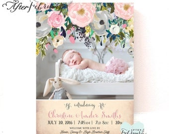 Pink Floral Birth Announcement Baby Girl Birth Photo Announcement Printable Personalized Photo Card // Printable OR Printed No.1353BABY