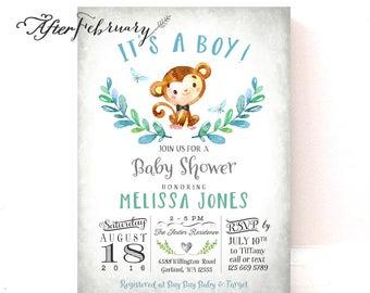 Boy Monkey Baby Shower Invitations Boy Invite Bow Tie Watercolor Hand-Drawn Monkey Boy Baby Shower / Printable or Printed  No.1293BOY