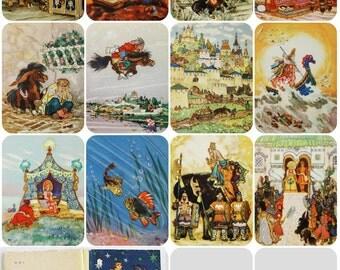 The Little Humpbacked Horse - P. Yershov - Illustrator N. Kochergin - Set of 12 Vintage Soviet Postcards (out of 16), 1961. Izogiz Publ.