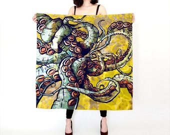 scarf, gift idea for her, women scarf, octopus scarf, black and white scarf, tentacles, Printed scarf, animal gift,  large scarf, silk scarf