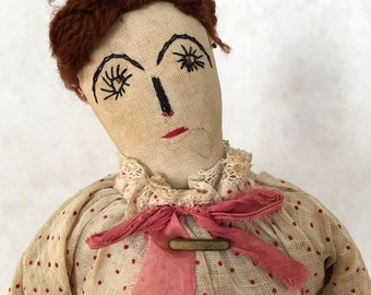 vintage handmade folk art doll, cloth doll, rag doll, primitive fabric doll