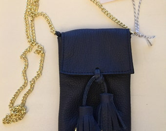 navy Blue  Small Handmade Leather Cell Phone Purse/ Small Leather Cross body.