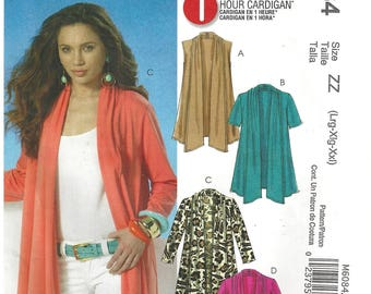 McCall's M6084 Sewing Pattern for Misses One Hour Cardigan with Cascading Shawl Collar and Shaped Hem sz L thru XXL Uncut