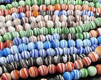 Matte Striped Glass Lampwork Beads, 7.5mm Rounds, Choice of Colors, 20 pc Strand S220