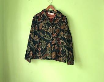 Vintage Floral Tapestry Jacket 1990s BOHO clothing Black Floral embroidered jacket Soft coat tapestry coat HIPPIE womens Large