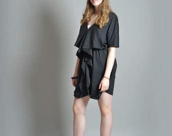 Black Short Dress, V Neck Dress, Avant Garde Clothing, Retro Dress, Renaissance Dress, Oversized Dress, Knee Length Dress, Goth Style