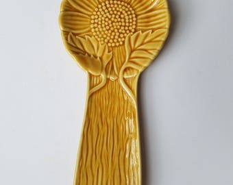 Ceramic Yellow Flower Spoon Rest by Bordallo Pinheiro Portugal