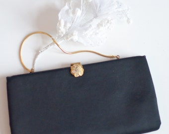 Vintage Black Satin Clutch, New Year's Eve clutch, Vintage black and gold satin evening bag,