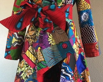 African Print Patchwork Coat Dress high low With Pockets and Tie Belt Fully Lined 100% Cotton