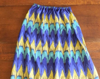 Reclaimed Vintage Purple, Green and Yellow Two-Piece Bandeau and Maxi Skirt Co-Ord UK Size 6/8 / US Size 2/4 Size Small
