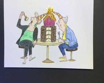 Funny Get the Fire Extinguisher Birthday Card (Handcrafted)