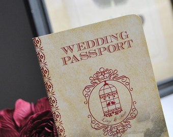Rustic Passport Wedding Invitation with a Vintage Birdcage Design - customised to suit you