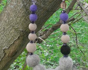 Felt Wool Necklace.Crochet necklace.Merino wool.Cotton and wood.Bright necklace.Wood.Necklace for women.Jewelry.