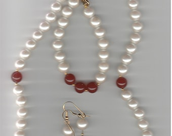 Red and White Plastic Necklace, Bracelet and Earrings